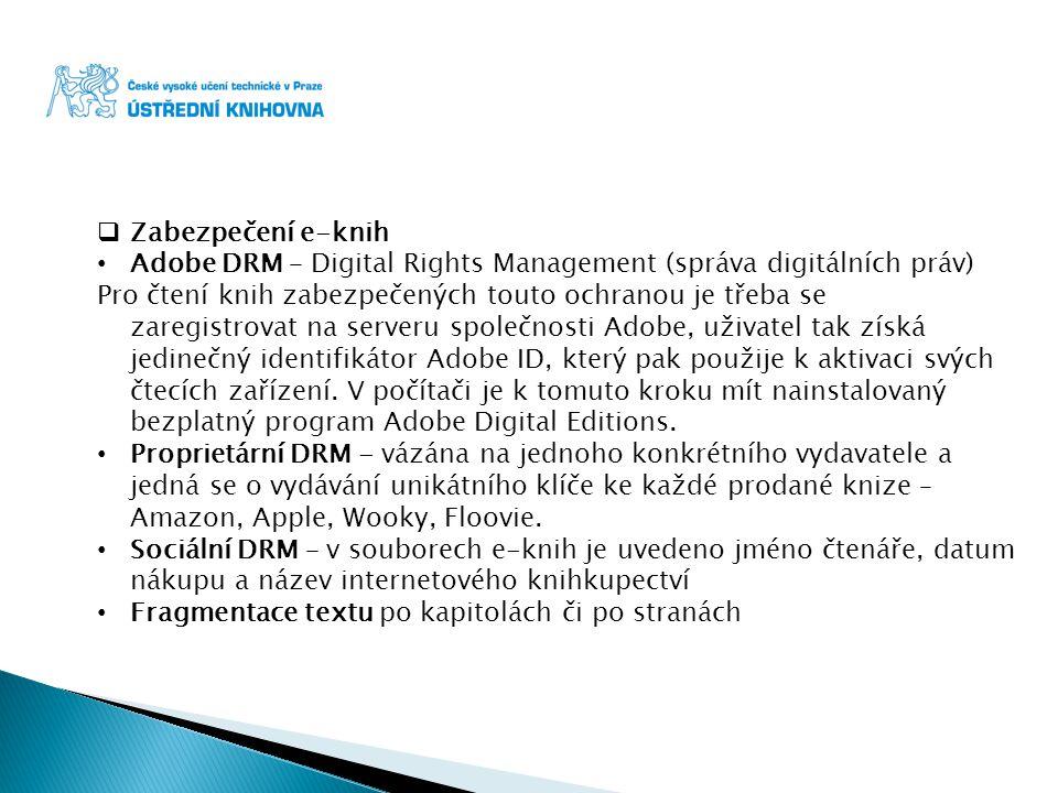 Zabezpečení e-knih Adobe DRM – Digital Rights Management (správa digitálních práv)
