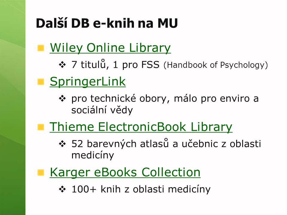 Další DB e-knih na MU Wiley Online Library SpringerLink
