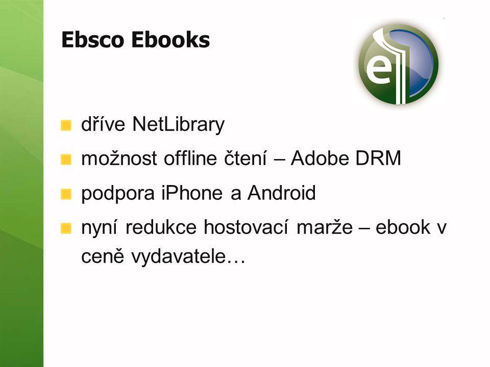 Ebsco Ebooks dříve NetLibrary možnost offline čtení – Adobe DRM