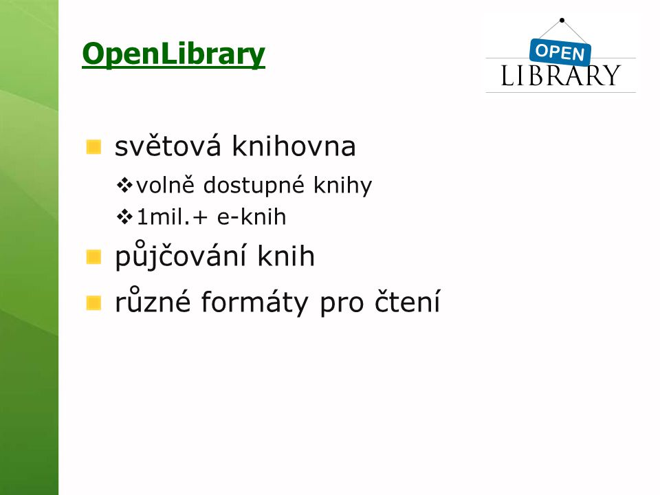 OpenLibrary světová knihovna půjčování knih různé formáty pro čtení