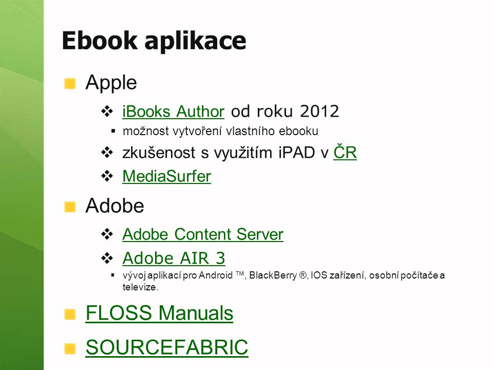 Ebook aplikace Apple Adobe FLOSS Manuals SOURCEFABRIC