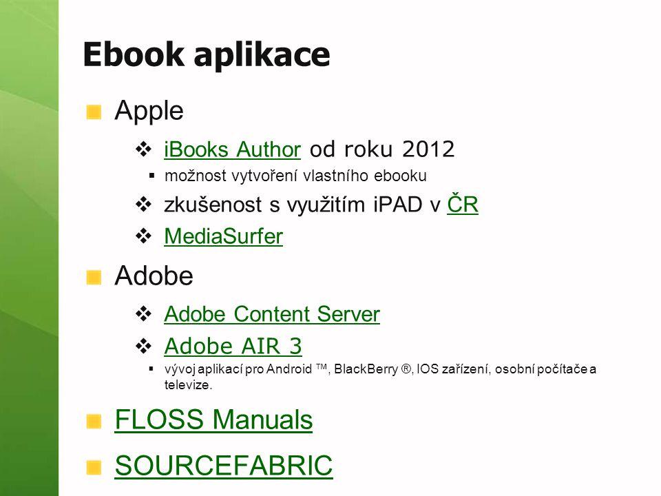 Ebook aplikace Apple Adobe FLOSS Manuals SOURCEFABRIC