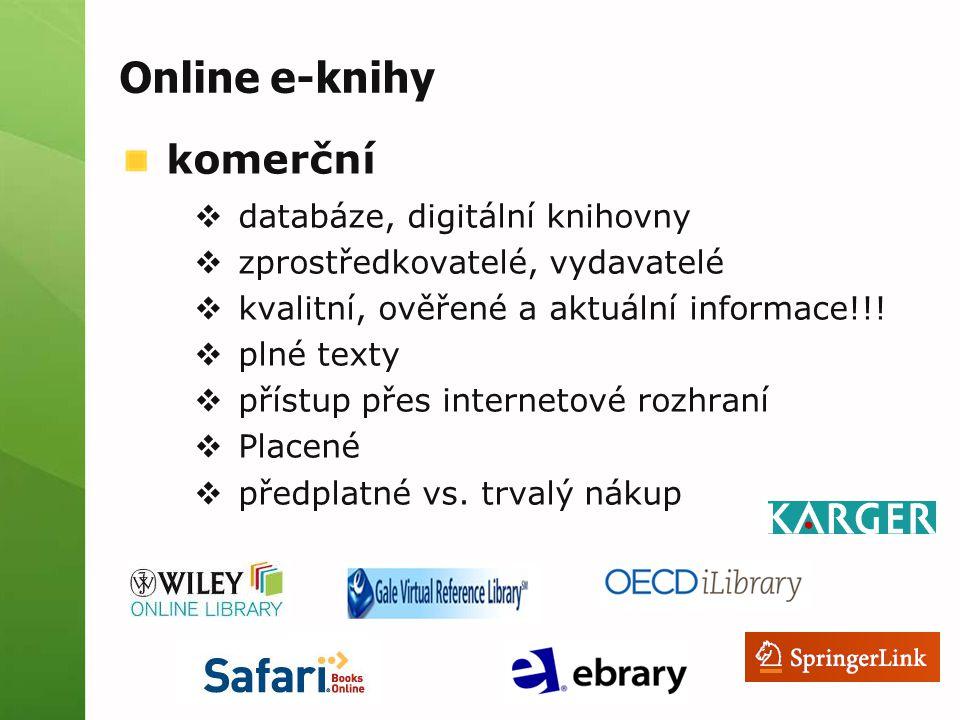 Online e-knihy komerční databáze, digitální knihovny