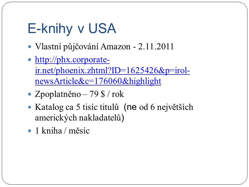 E-knihy v USA Vlastní půjčování Amazon - 2.11.2011
