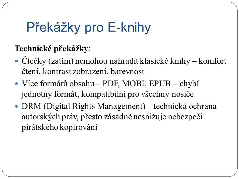 Překážky pro E-knihy Technické překážky: