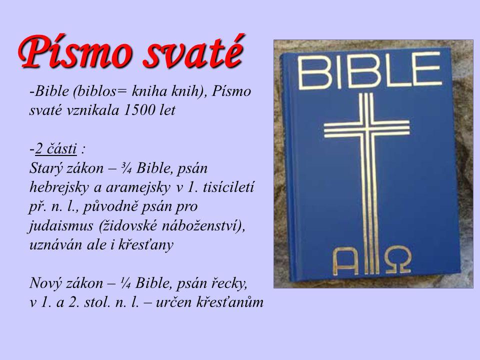 Písmo svaté Bible (biblos= kniha knih), Písmo svaté vznikala 1500 let