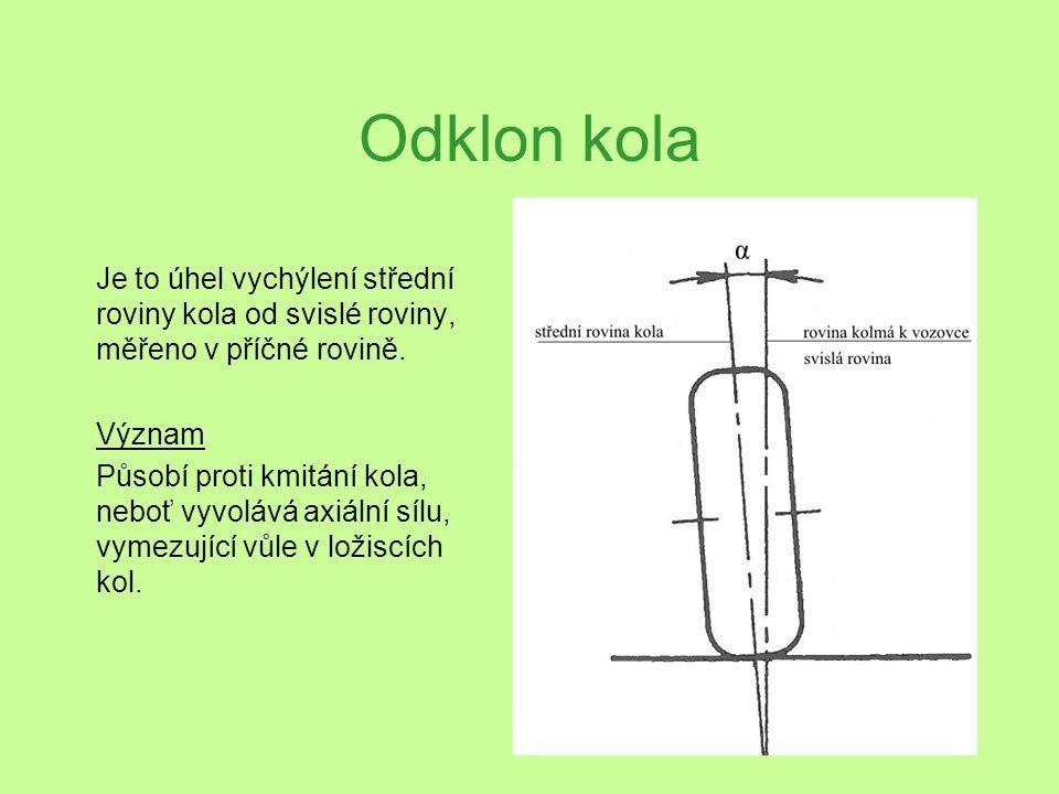 Odklon kola Je to úhel vychýlení střední roviny kola od svislé roviny, měřeno v příčné rovině. Význam.