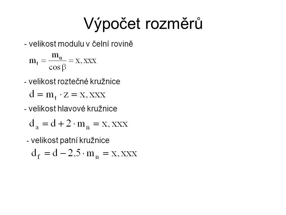 Výpočet rozměrů - velikost modulu v čelní rovině