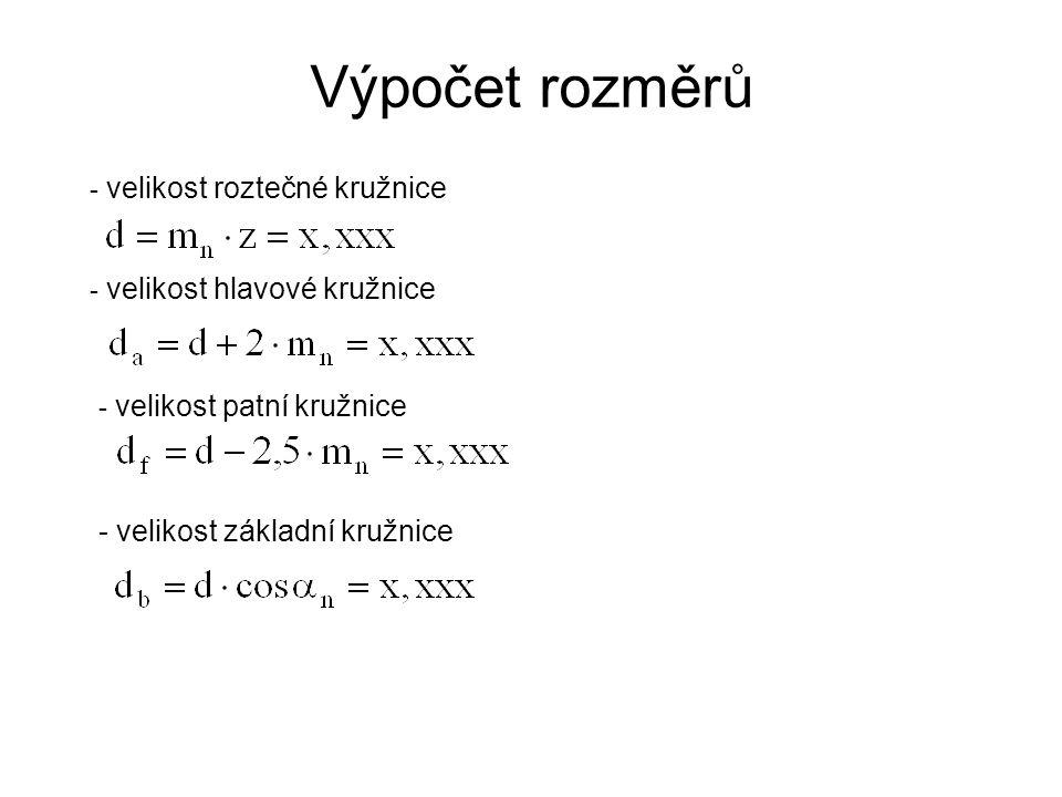 Výpočet rozměrů - velikost základní kružnice