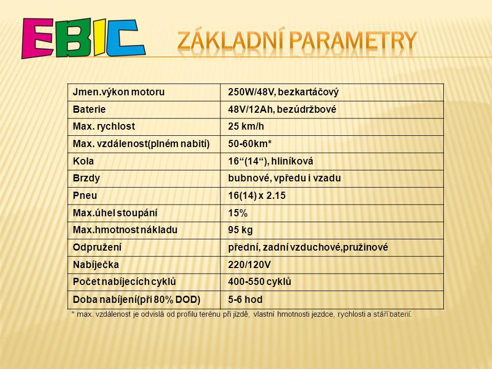 Základní parametry Jmen.výkon motoru 250W/48V, bezkartáčový Baterie