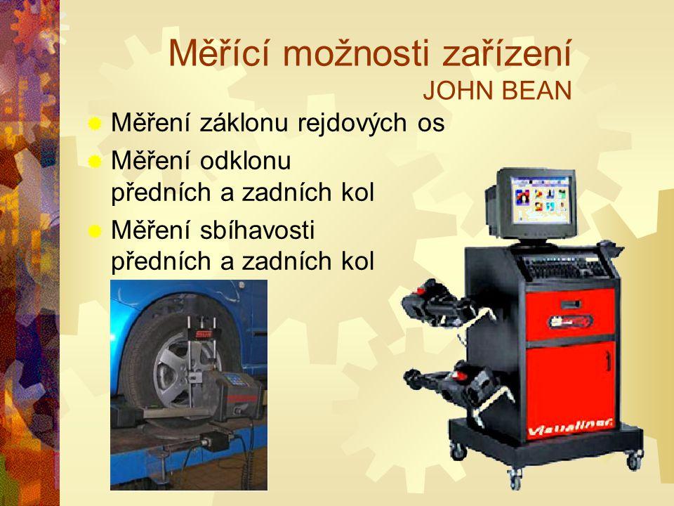 Měřící možnosti zařízení JOHN BEAN