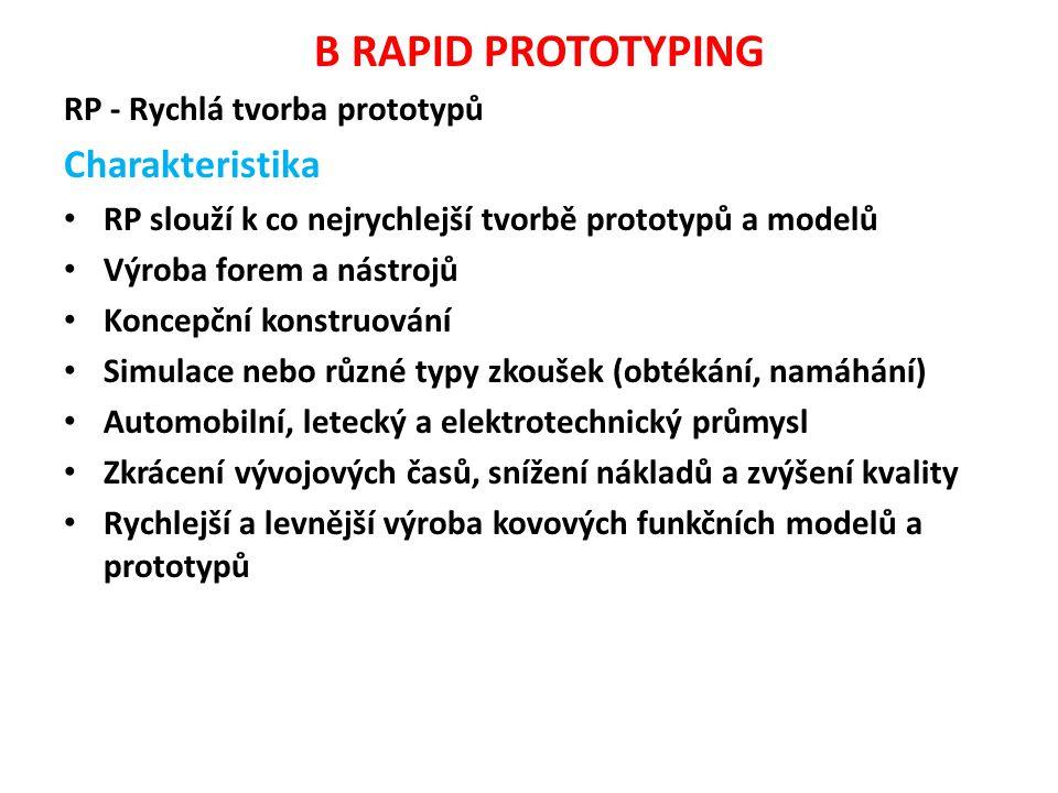 B RAPID PROTOTYPING Charakteristika RP - Rychlá tvorba prototypů