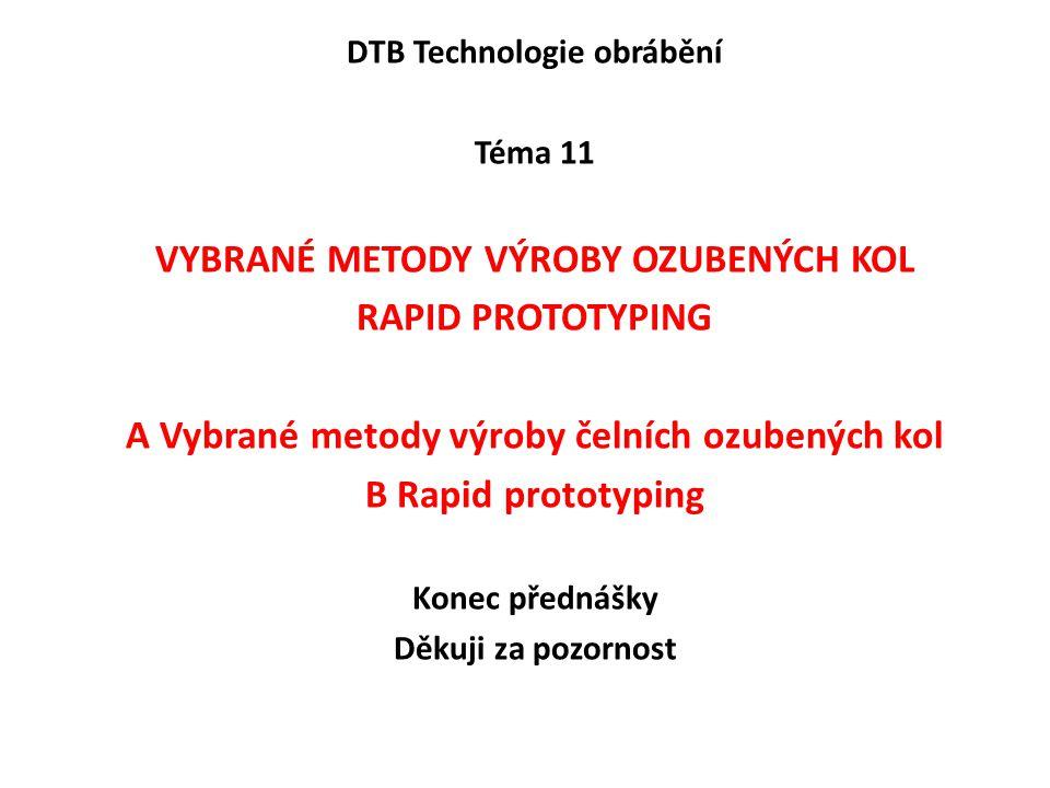 vybrané metody výroby ozubených kol rapid prototyping