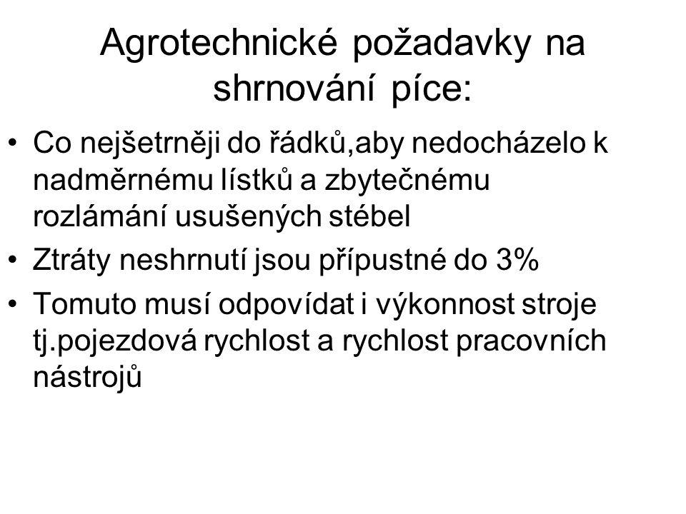 Agrotechnické požadavky na shrnování píce: