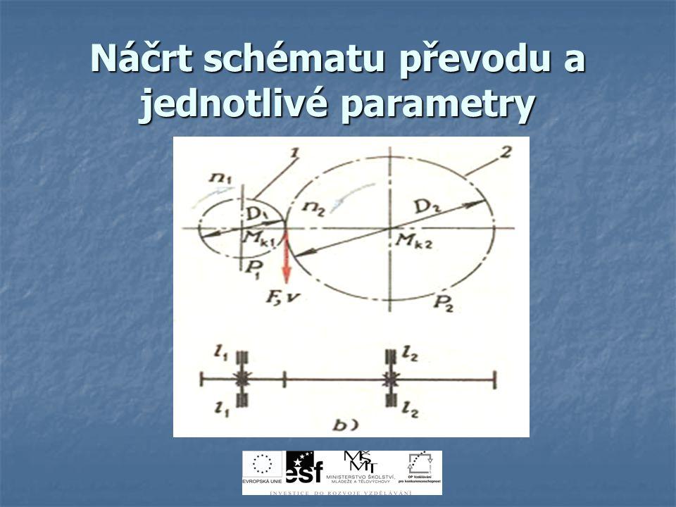 Náčrt schématu převodu a jednotlivé parametry