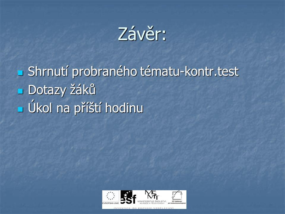 Závěr: Shrnutí probraného tématu-kontr.test Dotazy žáků