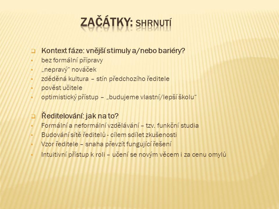 Začátky: shrnutí Kontext fáze: vnější stimuly a/nebo bariéry