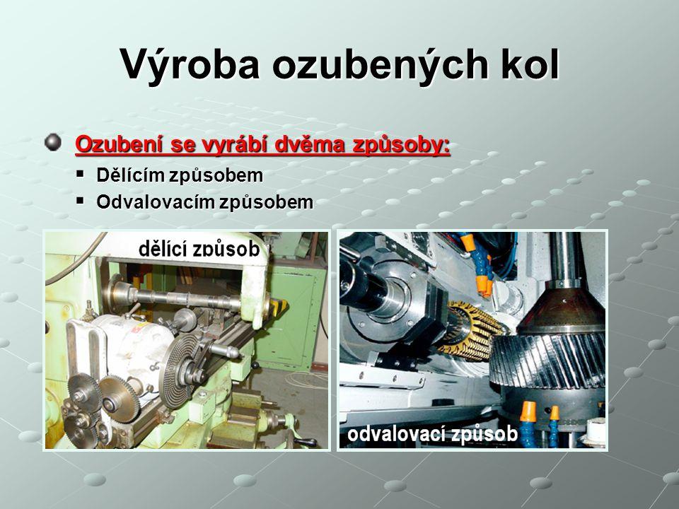 Výroba ozubených kol Ozubení se vyrábí dvěma způsoby: Dělícím způsobem