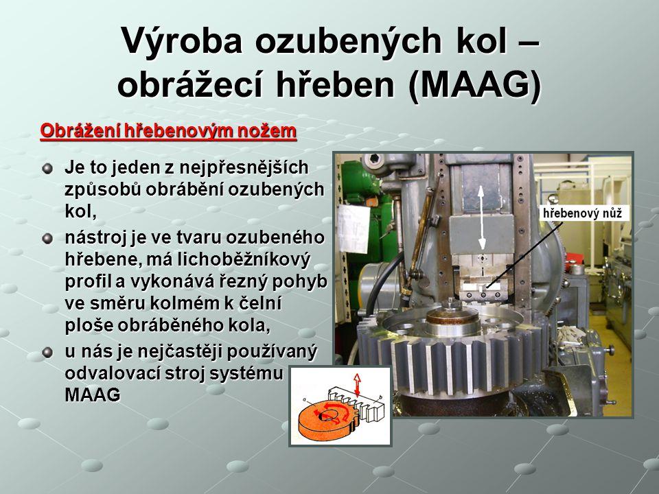Výroba ozubených kol – obrážecí hřeben (MAAG)