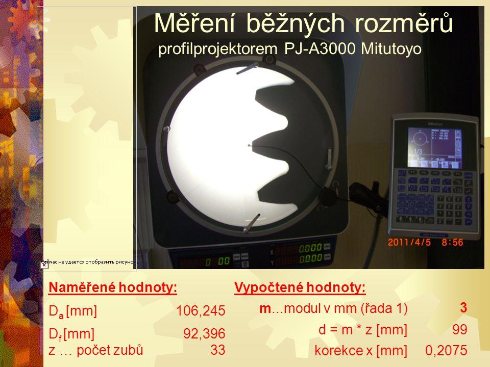 Měření běžných rozměrů profilprojektorem PJ-A3000 Mitutoyo
