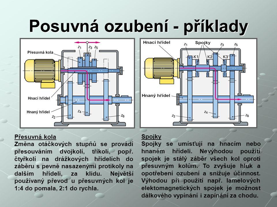 Posuvná ozubení - příklady