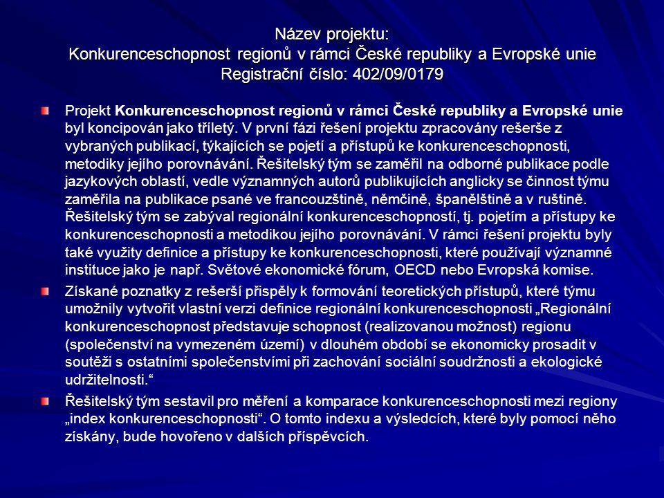 Název projektu: Konkurenceschopnost regionů v rámci České republiky a Evropské unie Registrační číslo: 402/09/0179