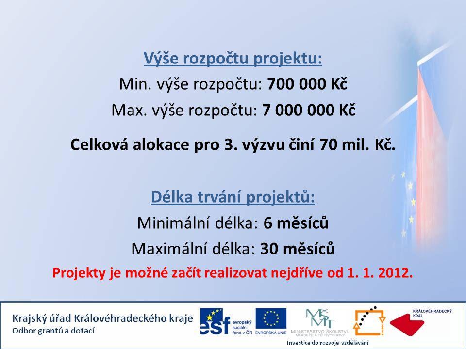 Výše rozpočtu projektu: Min. výše rozpočtu: 700 000 Kč