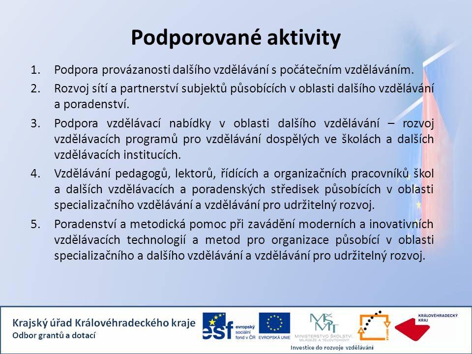 Podporované aktivity Podpora provázanosti dalšího vzdělávání s počátečním vzděláváním.