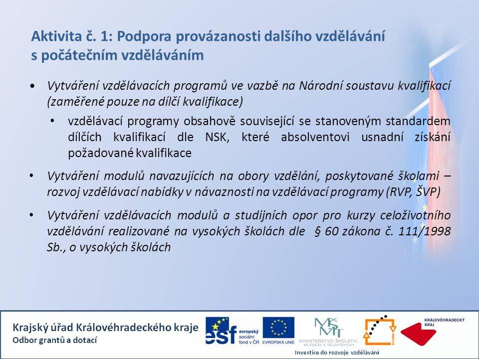 Aktivita č. 1: Podpora provázanosti dalšího vzdělávání s počátečním vzděláváním