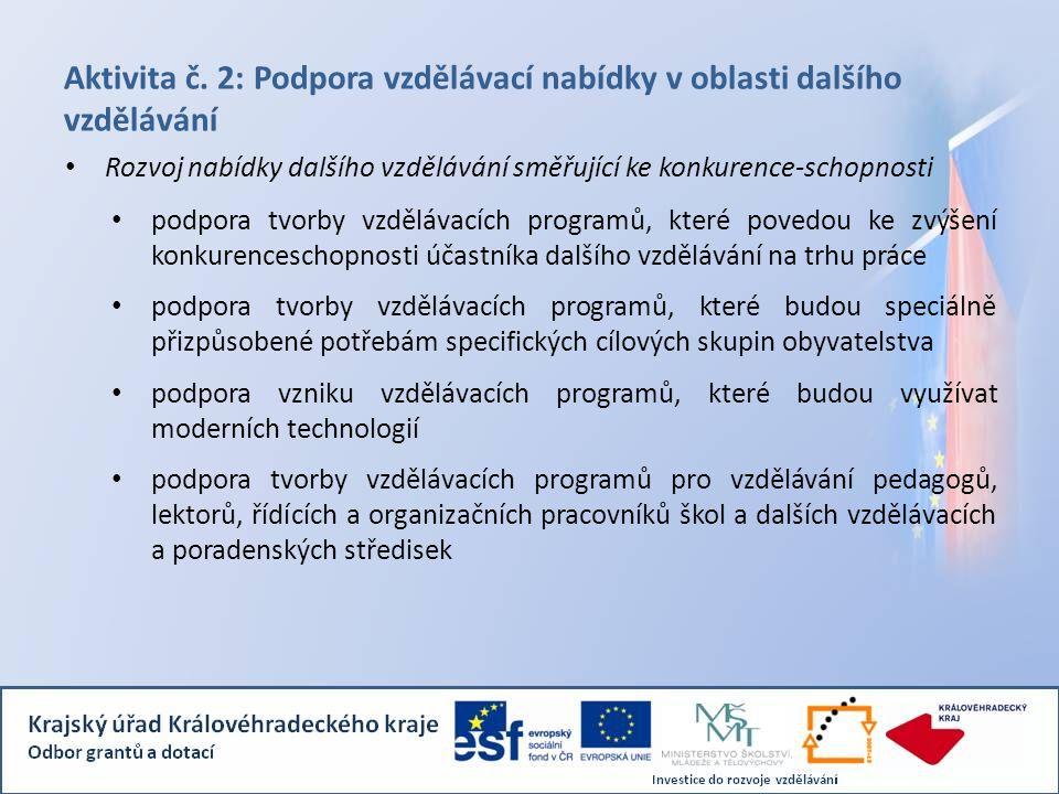 Aktivita č. 2: Podpora vzdělávací nabídky v oblasti dalšího vzdělávání