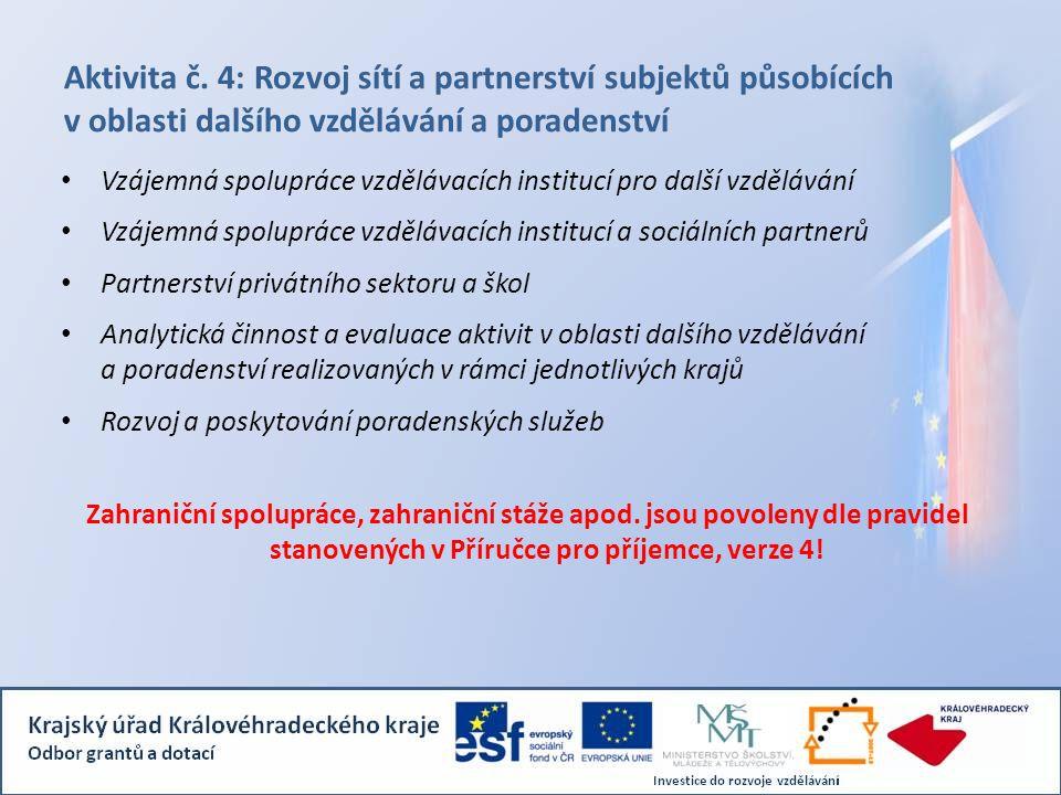Aktivita č. 4: Rozvoj sítí a partnerství subjektů působících v oblasti dalšího vzdělávání a poradenství
