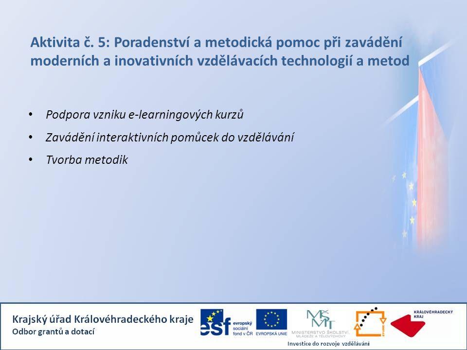 Aktivita č. 5: Poradenství a metodická pomoc při zavádění moderních a inovativních vzdělávacích technologií a metod