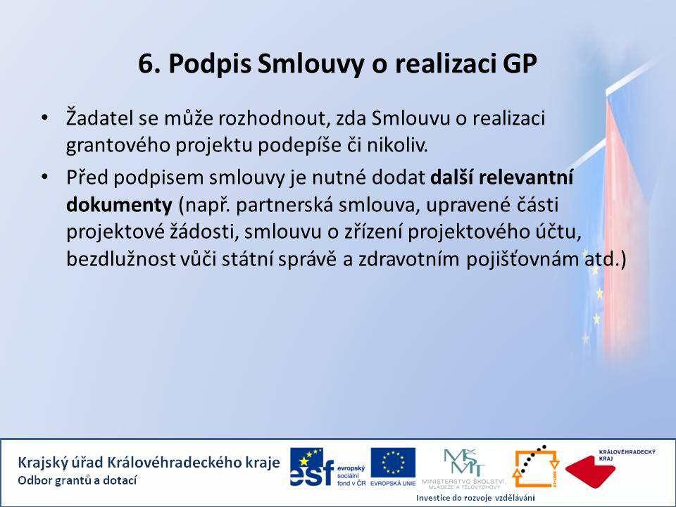 6. Podpis Smlouvy o realizaci GP