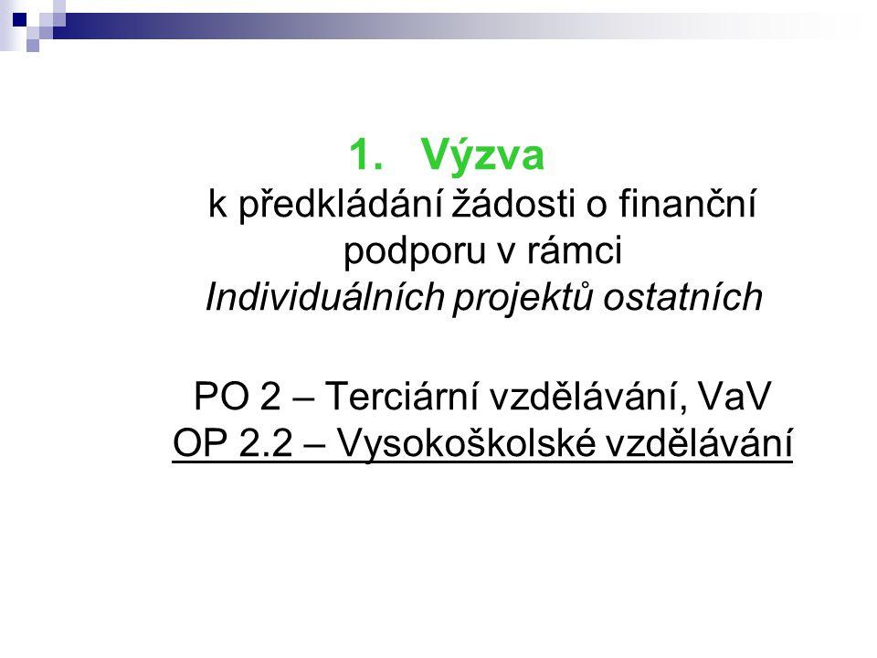 Výzva k předkládání žádosti o finanční podporu v rámci Individuálních projektů ostatních PO 2 – Terciární vzdělávání, VaV OP 2.2 – Vysokoškolské vzdělávání
