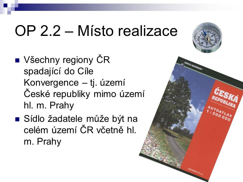 OP 2.2 – Místo realizace Všechny regiony ČR spadající do Cíle Konvergence – tj. území České republiky mimo území hl. m. Prahy.