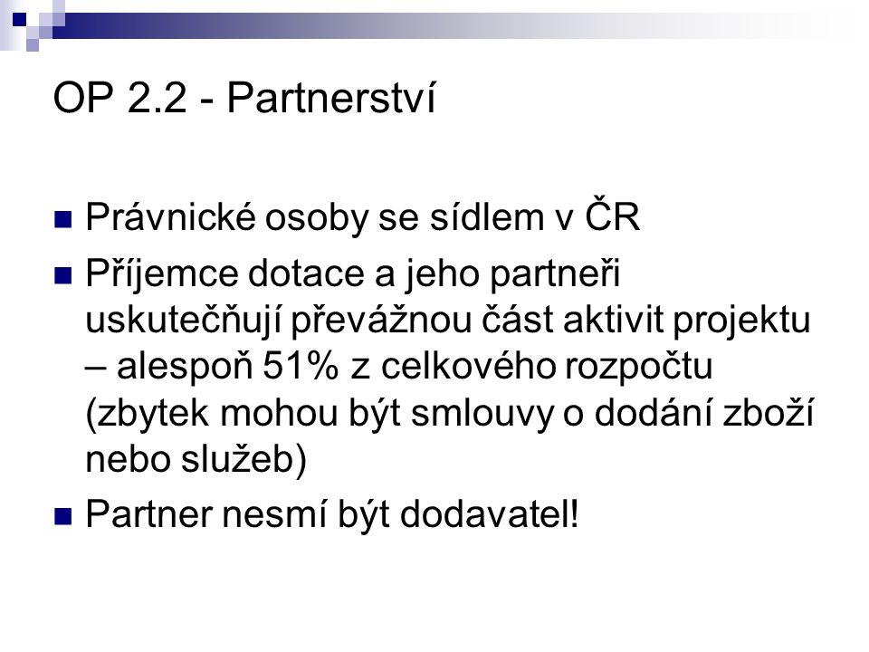 OP 2.2 - Partnerství Právnické osoby se sídlem v ČR
