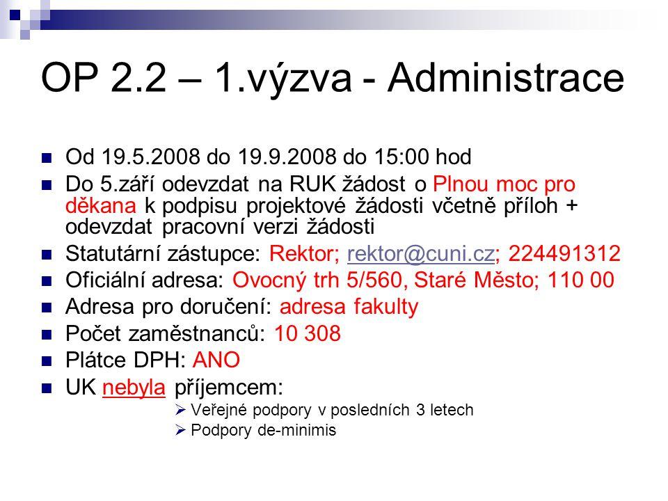 OP 2.2 – 1.výzva - Administrace