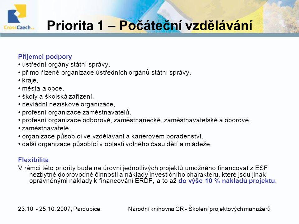 Priorita 1 – Počáteční vzdělávání