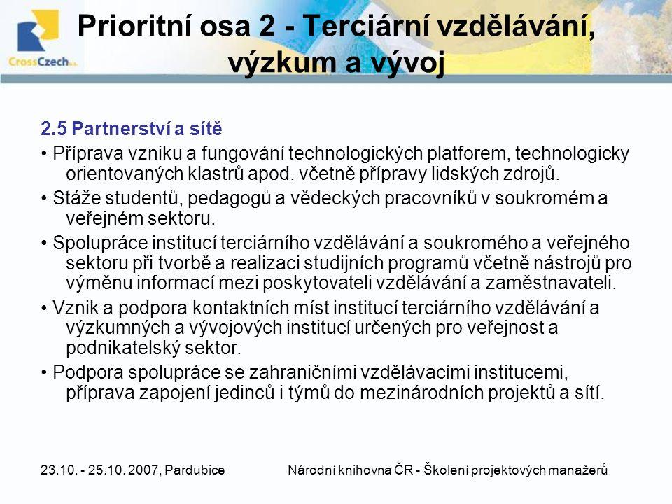 Prioritní osa 2 - Terciární vzdělávání, výzkum a vývoj
