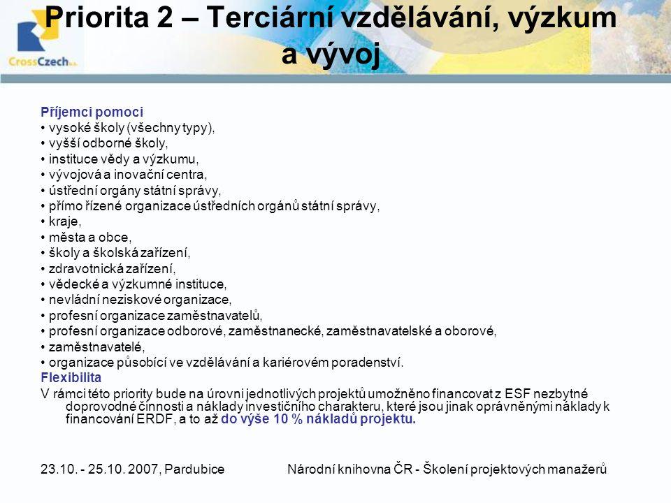 Priorita 2 – Terciární vzdělávání, výzkum a vývoj