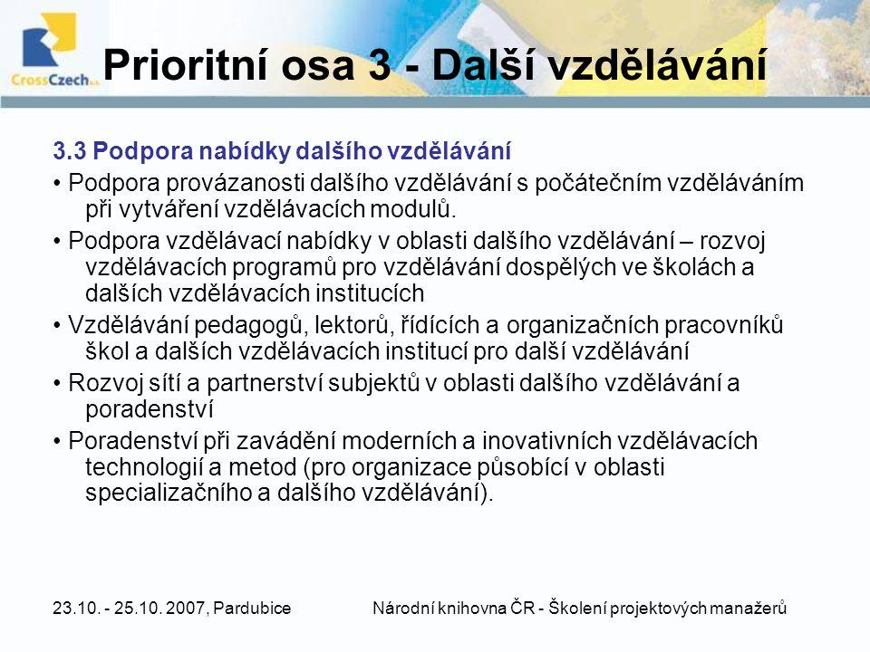 Prioritní osa 3 - Další vzdělávání