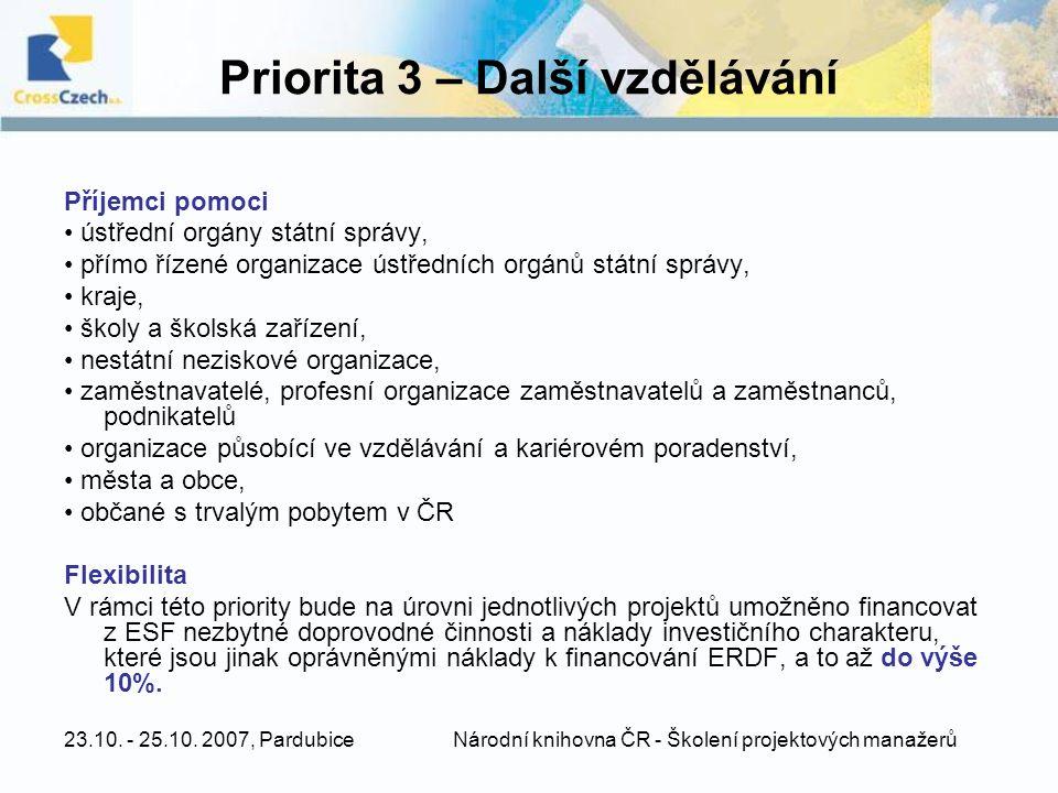 Priorita 3 – Další vzdělávání