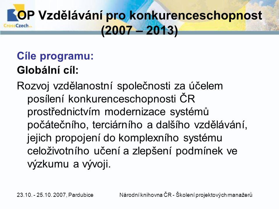 OP Vzdělávání pro konkurenceschopnost (2007 – 2013)