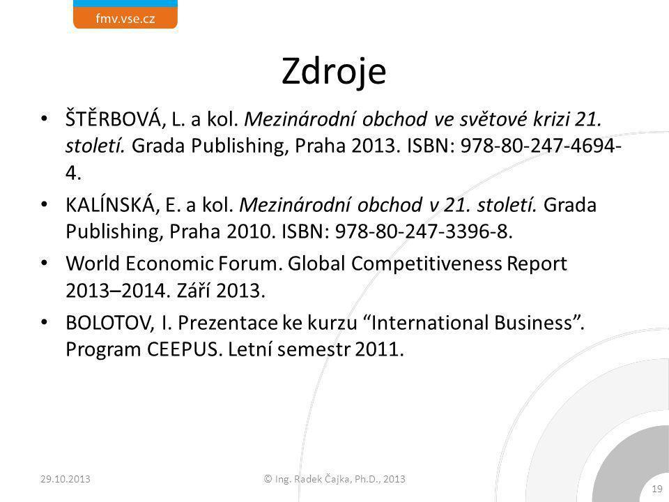 Zdroje ŠTĚRBOVÁ, L. a kol. Mezinárodní obchod ve světové krizi 21. století. Grada Publishing, Praha 2013. ISBN: 978-80-247-4694-4.