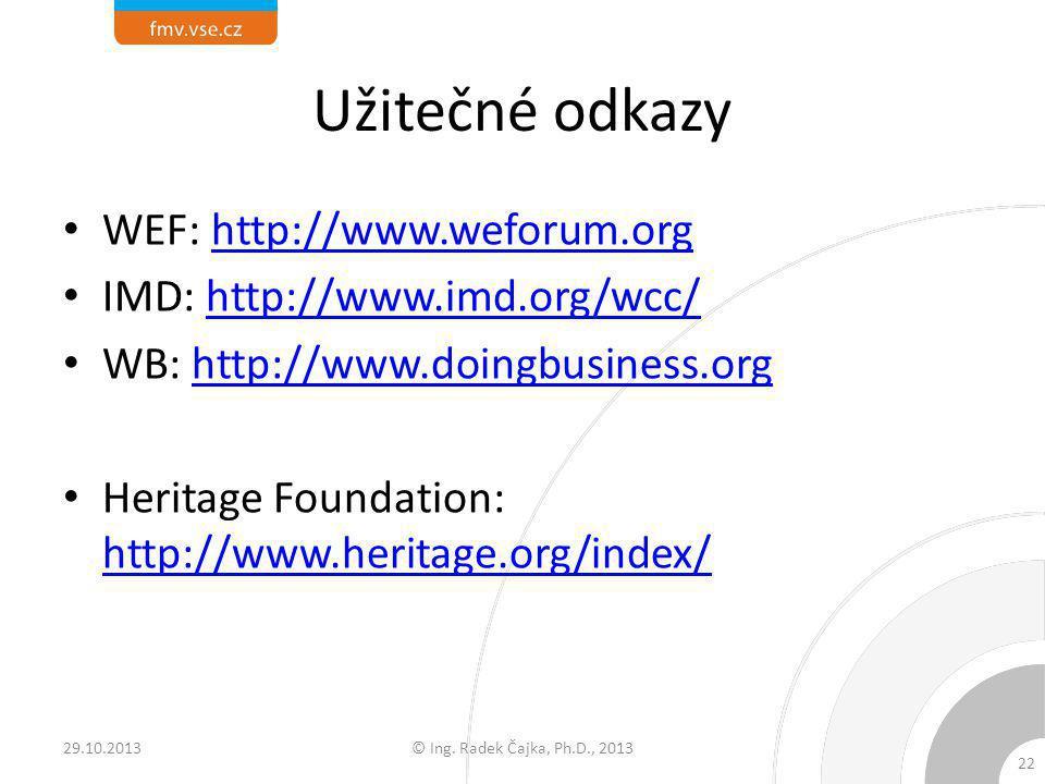 Užitečné odkazy WEF: http://www.weforum.org