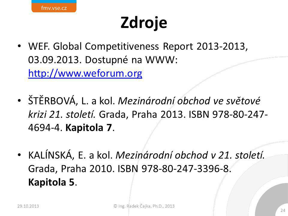 Zdroje WEF. Global Competitiveness Report 2013-2013, 03.09.2013. Dostupné na WWW: http://www.weforum.org.