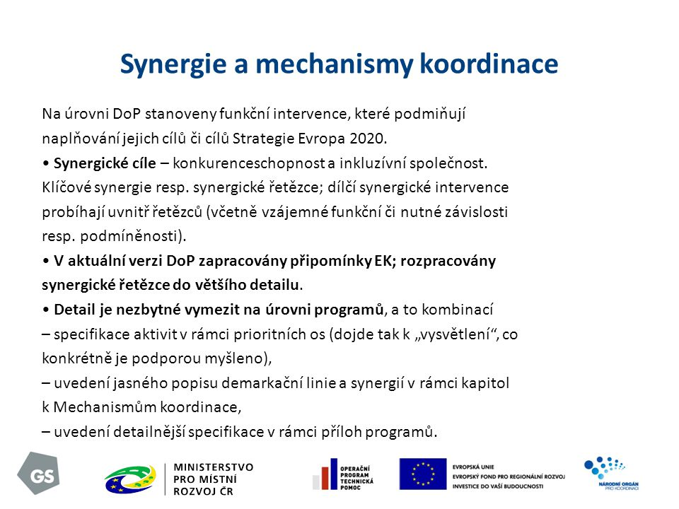 Synergie a mechanismy koordinace