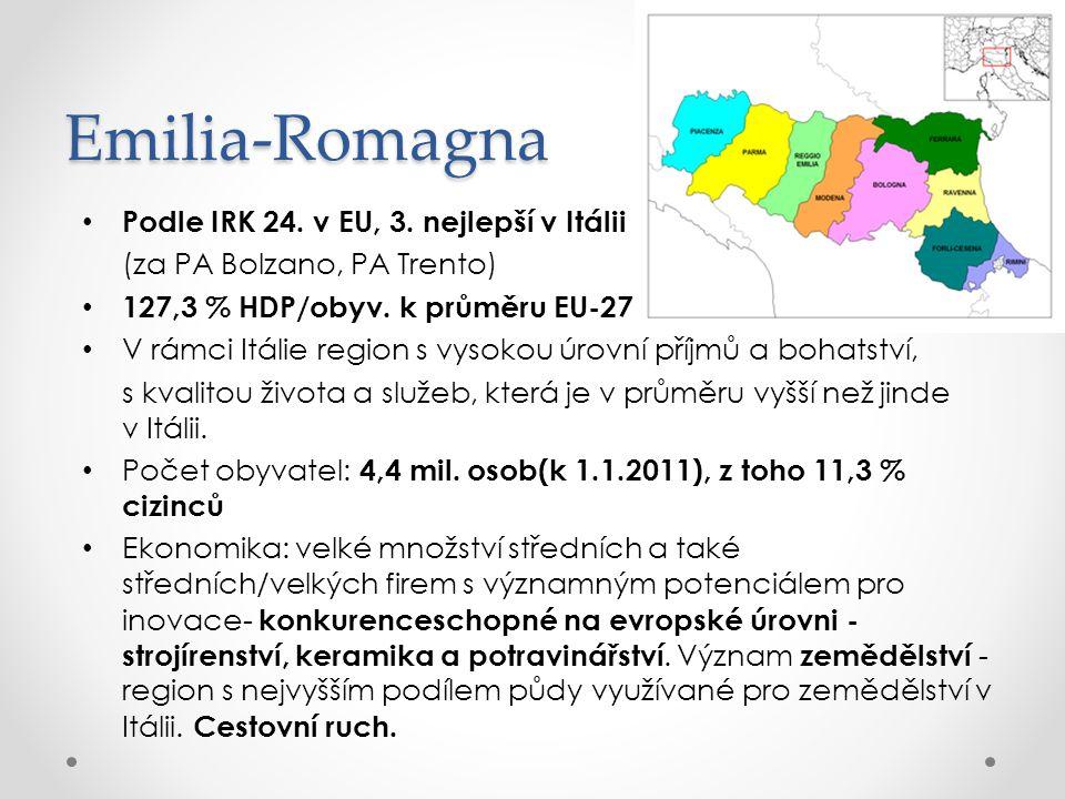 Emilia-Romagna Podle IRK 24. v EU, 3. nejlepší v Itálii