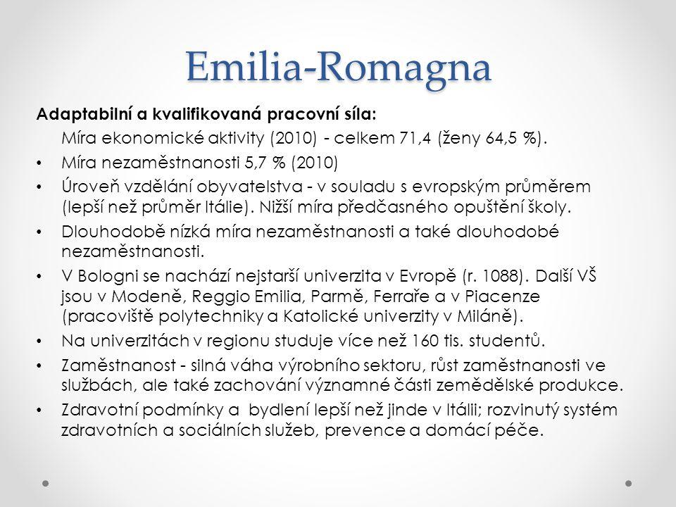 Emilia-Romagna Adaptabilní a kvalifikovaná pracovní síla: