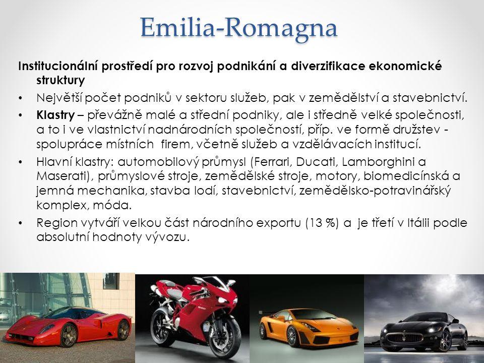 Emilia-Romagna Institucionální prostředí pro rozvoj podnikání a diverzifikace ekonomické struktury.